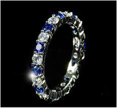 elizabeth sapphire blue eternity stackable ring 4ct cubic