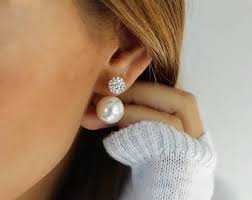 ear studs images pearl earring etsy