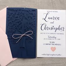 navy blue wedding invitations navy blue fresh tree laser cut wedding invitation wlc013 wedding