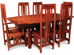 simply amish aspen 7 piece mission trestle table and chair set