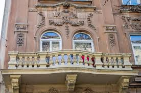 vintage retro balcony with columns and ornaments on an