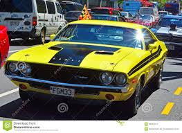 Dodge Muscle Cars - dodge challenger in a public us muscle cars v8 car show editorial