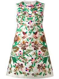 valentino floral embroidered dress in white lyst