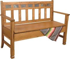 sd 1594ro sedona rustic oak bench with storage and a back