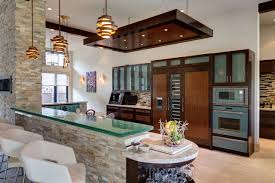 Contemporary Pendant Lighting For Kitchen by Bathroom Glass Countertops On Stone Facade Plus Counter Stools