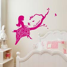 stickers chambre bébé fille fée sticker princesse et oiseaux du bonheur personnalisable stickers