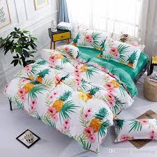 Green Duvet Cover King Pineapple Blossom Fruit Bedding Set White Green Duvet Cover Bed