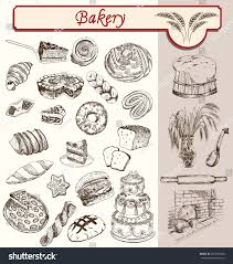 confectionery pastries handmade sketches set vector stock vector