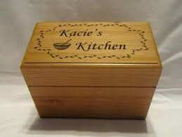 personalized boxes personalized wooden recipe box custom engraved 4x6