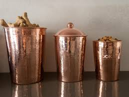 Metal Canisters Kitchen Amazon Com Sertodo Copper Hand Hammered Pure Copper Kumran