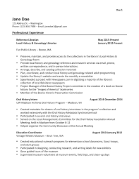 Curriculum Vitae Sample And Format by Library Science Resume Template In