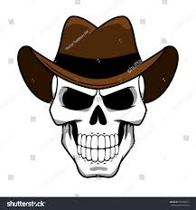 spooky cowboy skull character classic brown stock vector 292206617