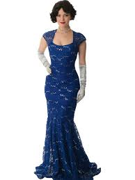 sequined blue lace cap sleeve gown vintage inspired evening gown