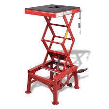 Motorcycle Lift Table by Red Motorcycle Lift 300 Lb With Foot Pad Locking Bar Release
