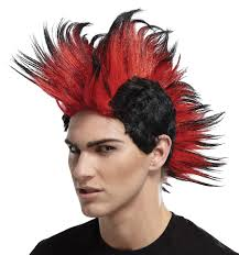 witch costume hairstyles mwg141 mohawk wig red double spike novelty wigs gothic wigs