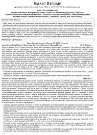 Scrum Master Sample Resume by Resume Agile Scrum Resume For Your Job Application