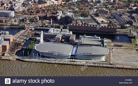 aerial view of the liverpool echo arena on the mersey liverpool
