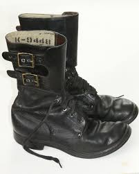 black lace up motorcycle boots wwii sz 7d us army combat boots 2 buckle black lace up ww2 rough