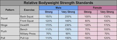 Bench Press Program Chart Strength Standards Are You Strong Enough All Terrain Human
