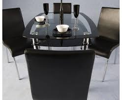 Dining Table Black Glass Vo Rectangular Black Glass Dining Table - Black dining table for 4