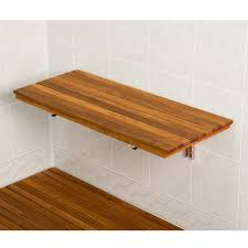 accessories wooden flooring with floating wood shower bench and