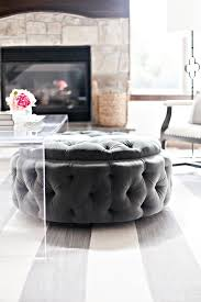 round upholstered coffee table round upholstered tufted ottoman tucked under acrylic coffee table