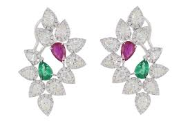 emerald nigaam 18k white gold pear shape diamond emerald and ruby earings