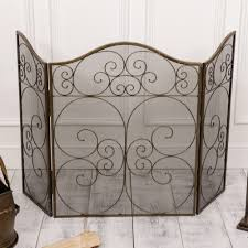 antique style fireguard with mesh protector