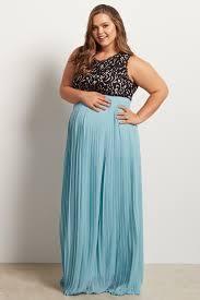 light blue pleated chiffon lace top plus size maxi dress