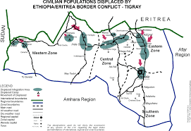 Eritrea Map Civilian Populations Displaced By Ethiopian Eritrea Border