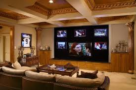 living room coffered ceilings and tv wall unit with loveseat also