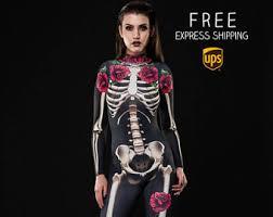 Catsuit Halloween Costumes Skeleton Costume Etsy
