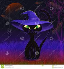 cat halloween background images cute black cat in a witch u0027s hat card template stock vector image