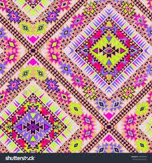 Beautiful Purple Motifs Vector Tribal Aztec Seamlesss Patterns Neon Stock Vector 368800499