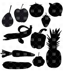 fruits and vegetables black silhouettes vector clipart image