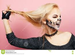 halloween pink background with drips on the face for halloween stock photo 78697582