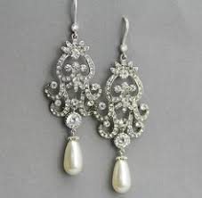 vintage wedding earrings chandeliers pearl bridal chandelier earrings wedding jewelry ivory pearl and