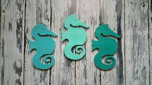 seahorse wall decor wood wall nautical decor