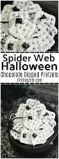 spider web halloween chocolate dipped pretzels finding zest