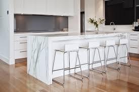 Kitchen Benchtop Designs Calacatta Quartz Quantum Quartz Island Benchtop With Mitred Apron