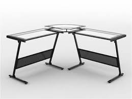 L Shaped Glass Desks L Shaped Glass Desk With Raised Glass Monitor Stand Officedesk