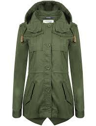 emer cotton twill hooded parka jacket in khaki tokyo laundry