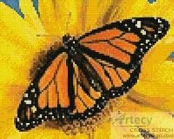 mini monarch sunflower cross stitch pattern butterfly