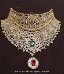 stone choker necklace images Gold cz stone choker necklace south india jewels jpg