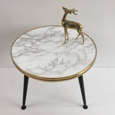 round marble effect vintage coffee table 1950s table basse