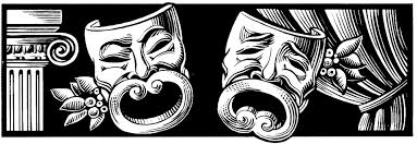comedy tragedy masks black and white clipart 30