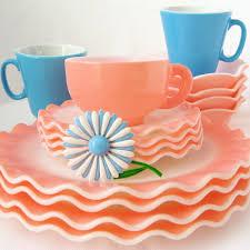 vintage pink blue dishes picnic by ellie flickr