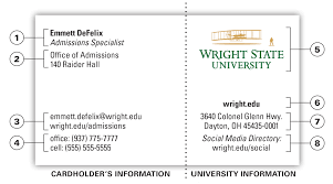 university business card office of marketing wright state