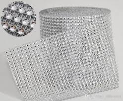 mesh ribbon table decorations 10yard roll 4 75 24 rows manmade mesh yards wrap rhinestone