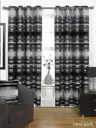 Thick Black Curtains Black Grey Thick Heavy Lined Eyelet Curtains 4 Sizes Ebay